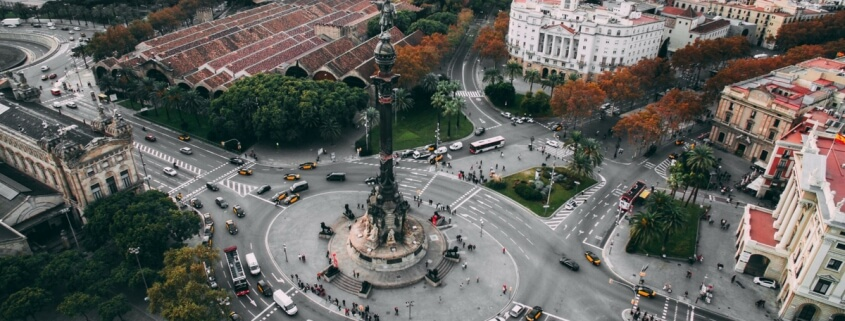 Aerial view of Colombus Monument in Barcelona