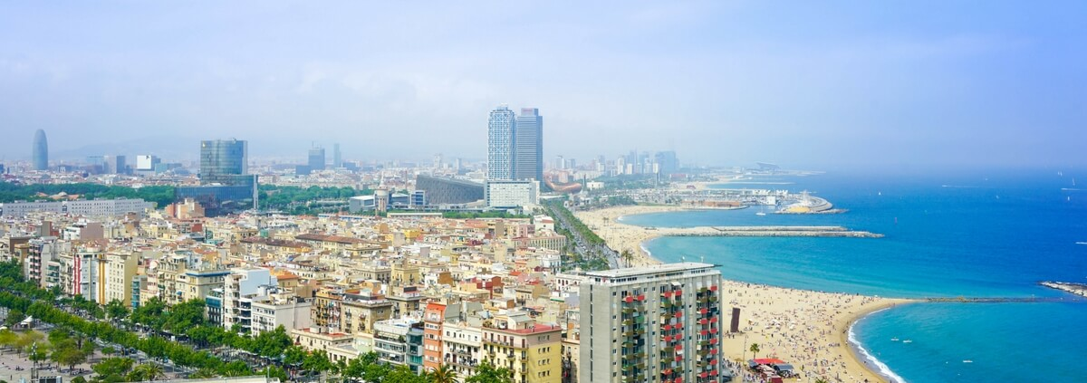 View of Barcelona and Beach