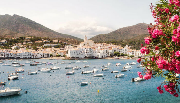 Cadaques beach with boats