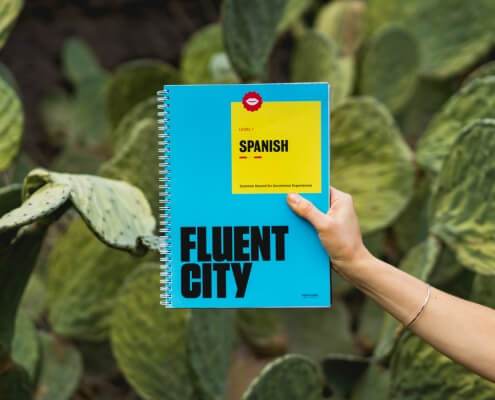 Fluent City Spanish Textbook with Cactus Background by Dan Gold